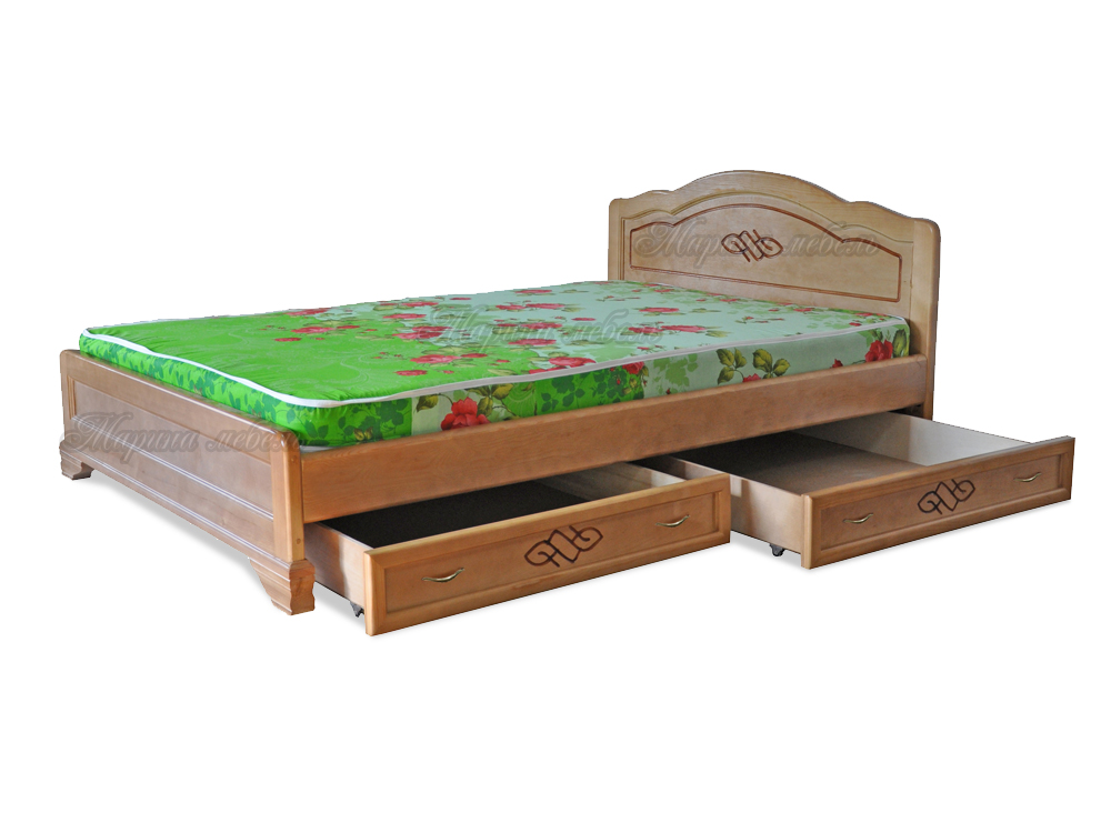 Кровать с ящиками из массива
